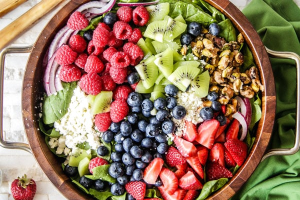 Kiwi Berry Salad with Raspberry Poppy Seed Dressing Recipe - RecipeGirl.com