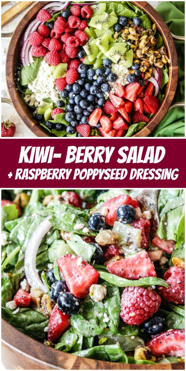 Pinterest Collage image for Kiwi Berry Salad