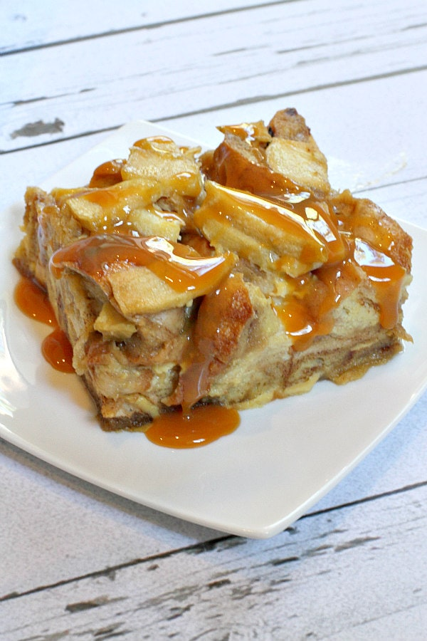 Caramel Apple Bagel Bread Pudding Recipe - RecipeGirl.com