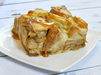 Caramel Apple Bagel Bread Pudding