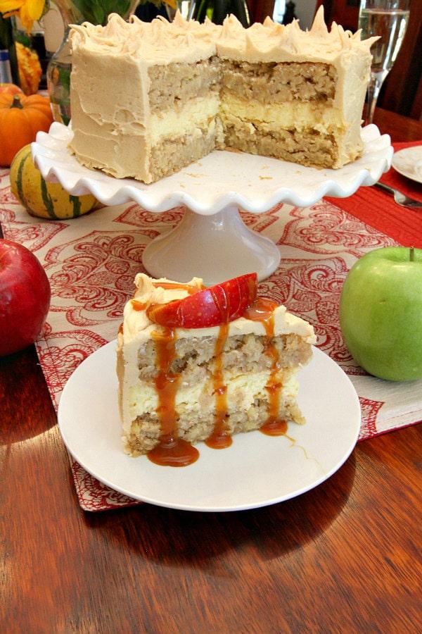 Caramel Apple Cheesecake Cake Recipe - RecipeGirl.com