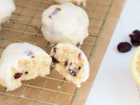 Cranberry Butter Cookies with Lemon Glaze