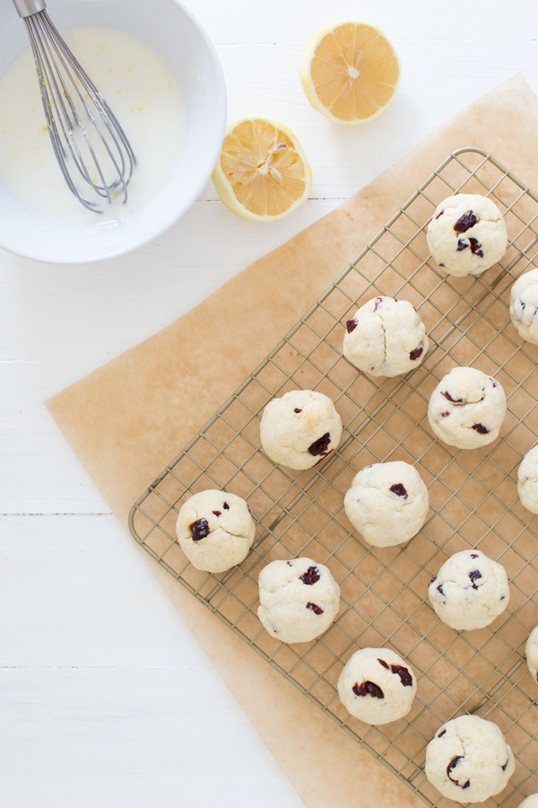 Cranberry Butter Cookies with Lemon Glaze
