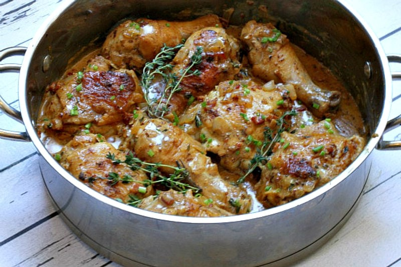 chicken with mustard in pan