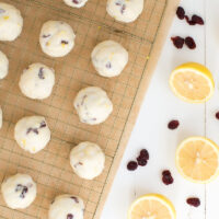 cranberry butter cookies on a cooling rack