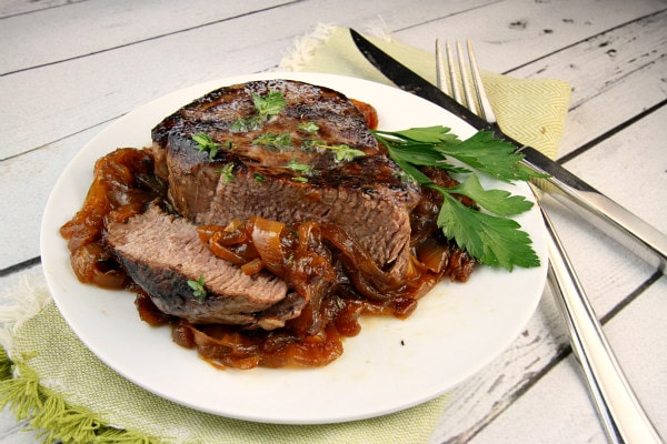Filet Mignon with Marsala Caramelized Onions Recipe - RecipeGirl.com