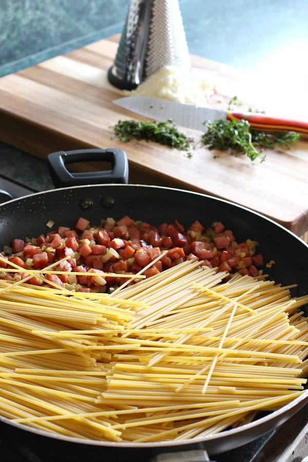 Ham and Bean Skillet Spaghetti