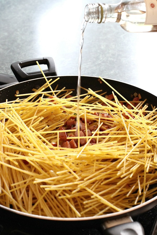 Ham and Bean Skillet Spaghetti