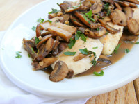 Chicken Cutlets with Mushroom Wine Sauce