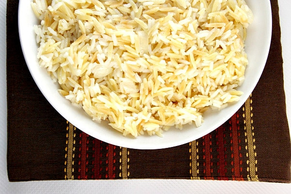 Classic Rice Pilaf in a white bowl