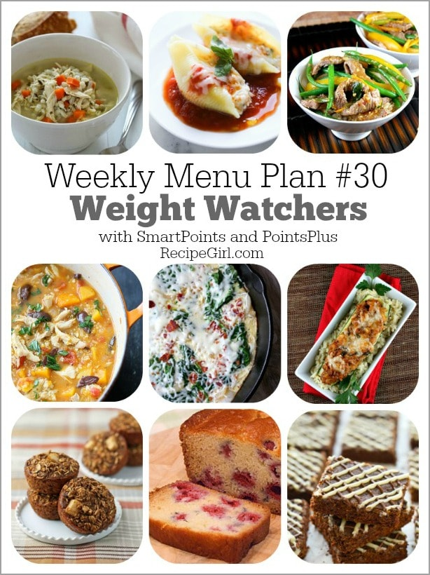 Weekly Menu Plan #30 Weight Watchers