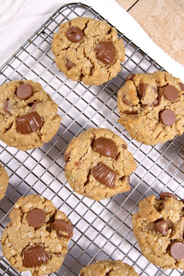 Oatmeal Peanut Butter Cup Chocolate Chip Cookies Recipe - RecipeGirl.com