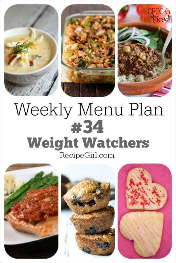 Weekly Menu Plan 34 Weight Watchers