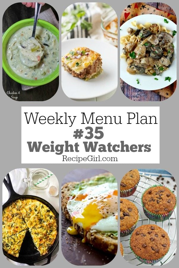 Weekly Menu Plan 35 Weight Watchers