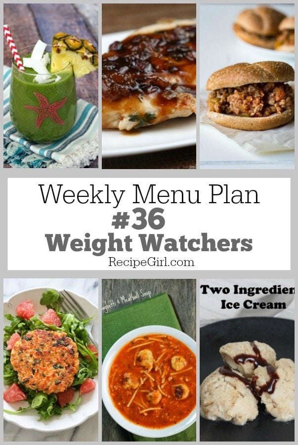 Weekly Menu Plan #36 Weight Watchers