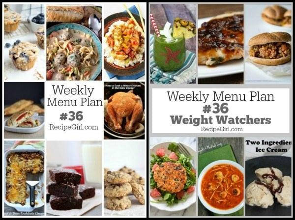 Weekly Menu Plans #36