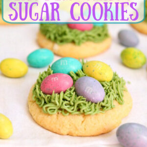 pinterest image for easter grass sugar cookies