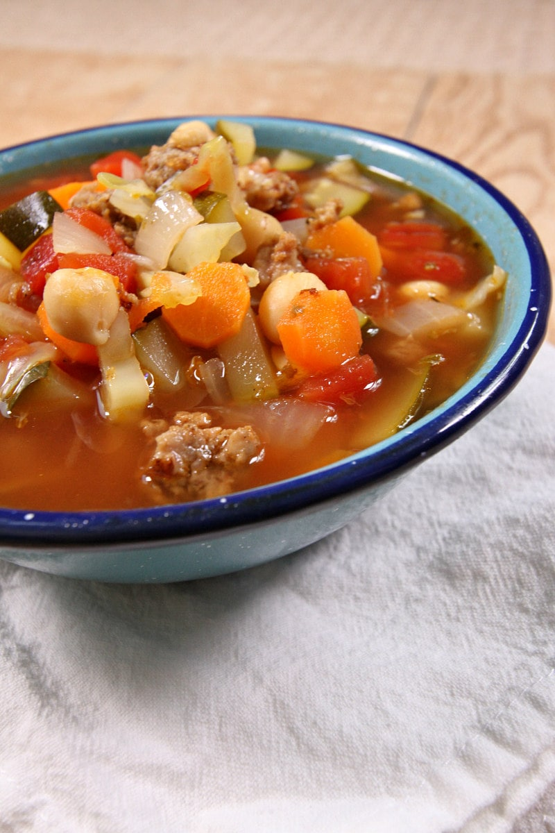 bowl of Italian Sausage Vegetable Soup