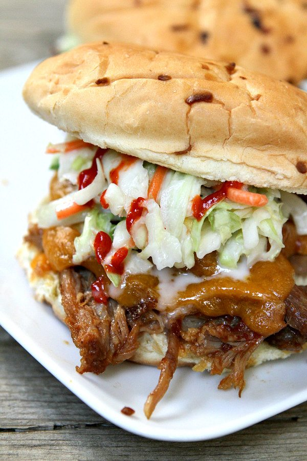 Slow Cooker Sweet and Spicy Pulled Pork Sandwiches