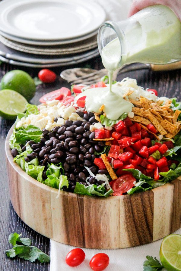 Southwest Salad with Avocado Dressing - RecipeGirl.com