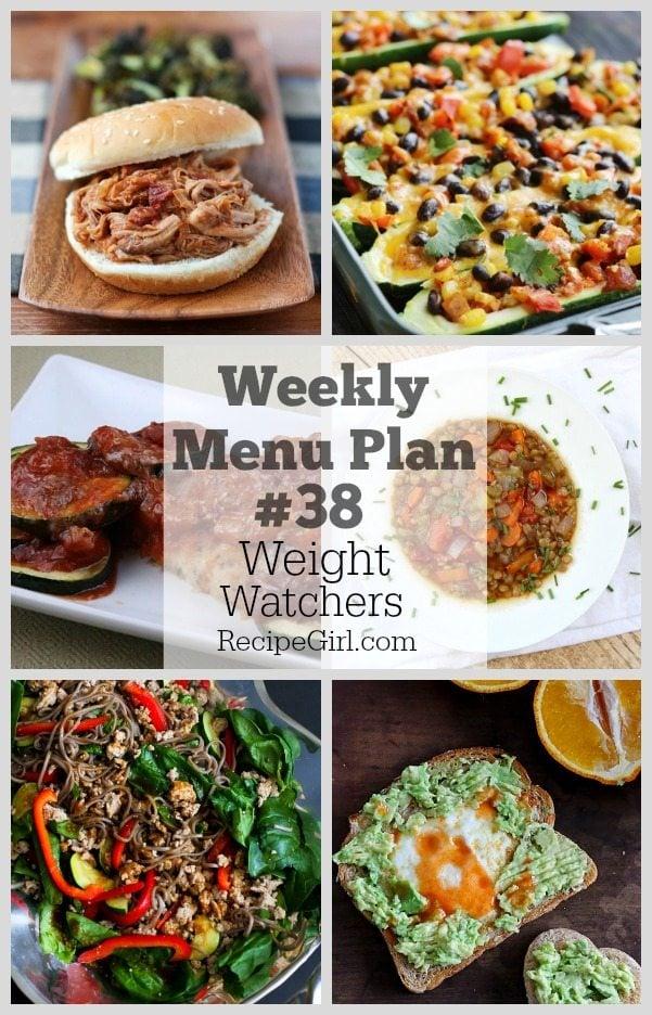 Weekly Menu Plan 38 Weight Watchers