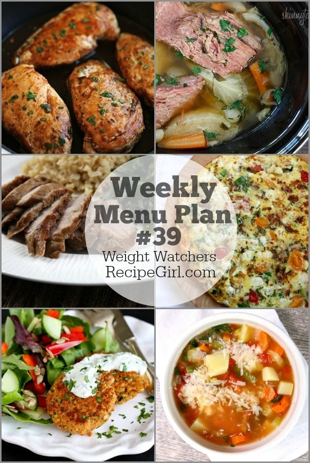 Weekly Menu Plan 39 WW