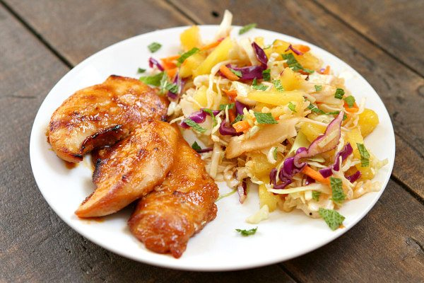 Thai Chicken Tenders with Broiled Pineapple Slaw:  recipe from RecipeGirl.com