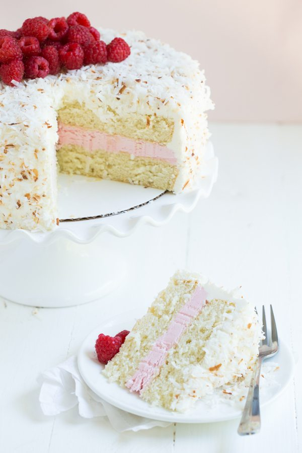 Coconut Cake with Raspberry Buttercream Filling