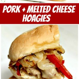 pinterest collage image for pork and melted cheese hoagies