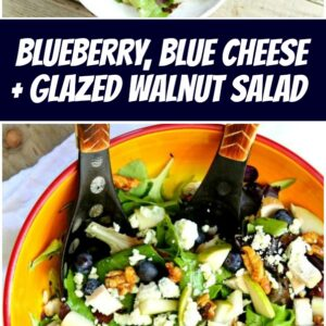 pinterest collage image for blueberry blue cheese and glazed walnut salad