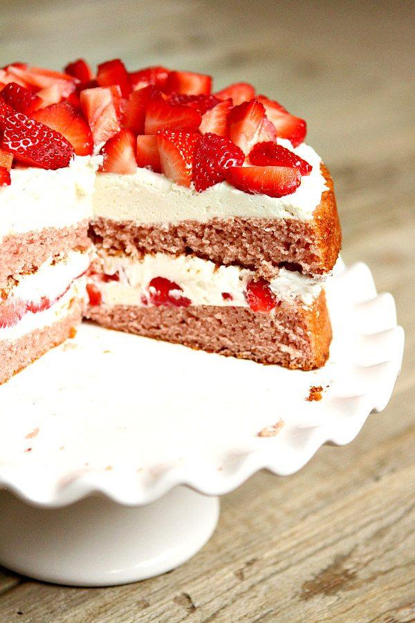 Strawberry Layer Cake Recipe - RecipeGirl.com