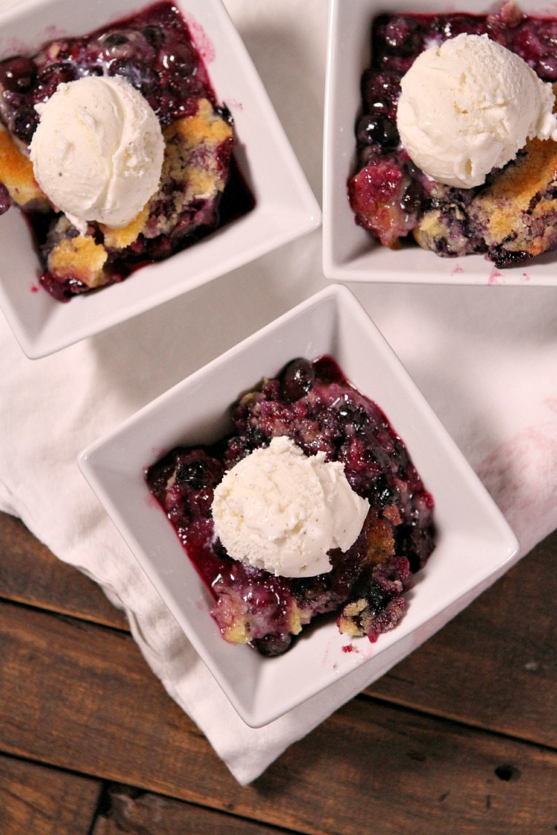Blueberry Cobbler topped with vanilla ice cream