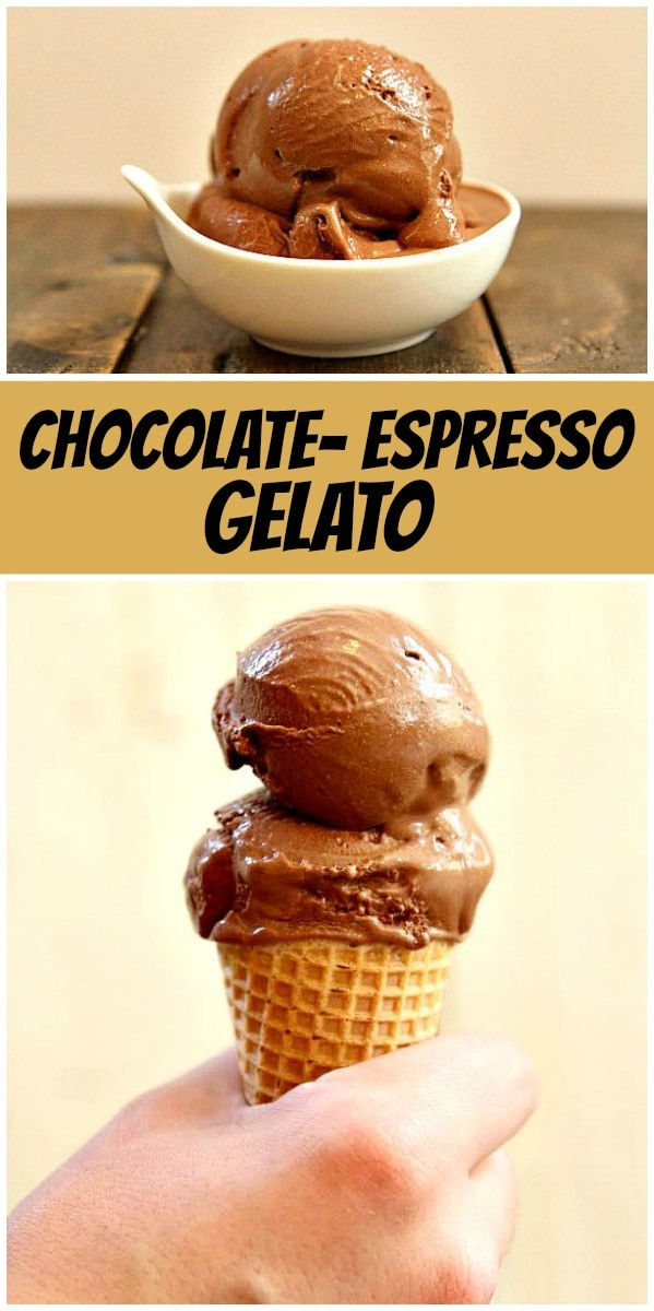 pinterest collage image for chocolate espresso gelato