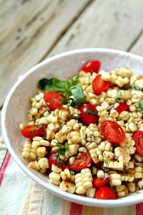 Fresh Corn and Tomato Salad with Balsamic Basil Dressing recipe from RecipeGirl.com