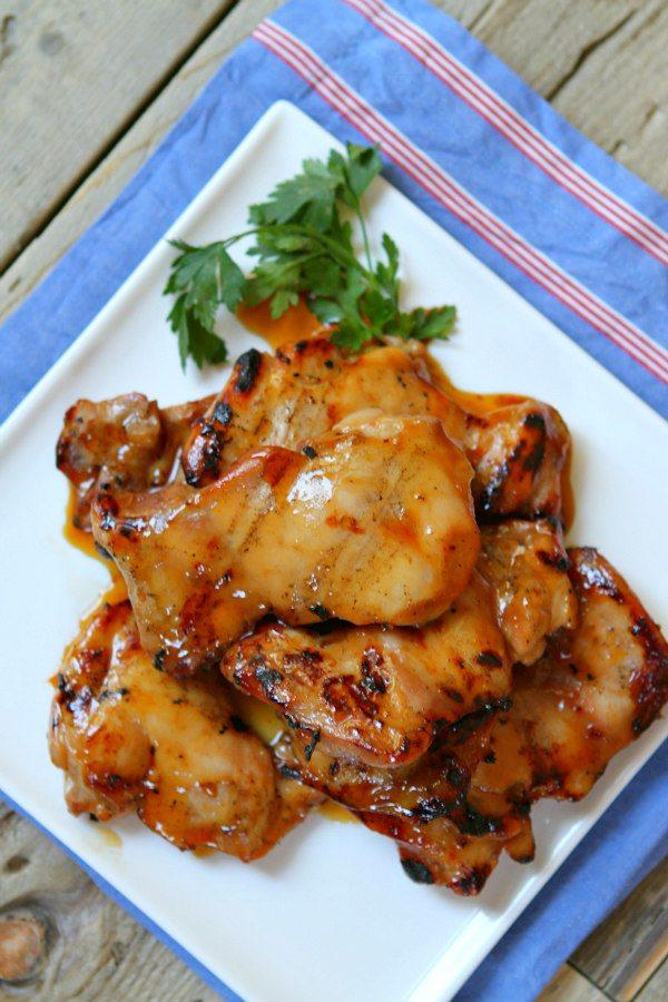Plum Glazed Grilled Chicken Thighs recipe - RecipeGirl.com
