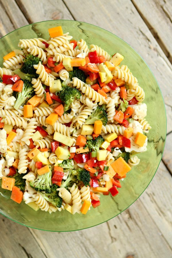Summer Vegetable Pasta Salad in a Green Serving Bowl