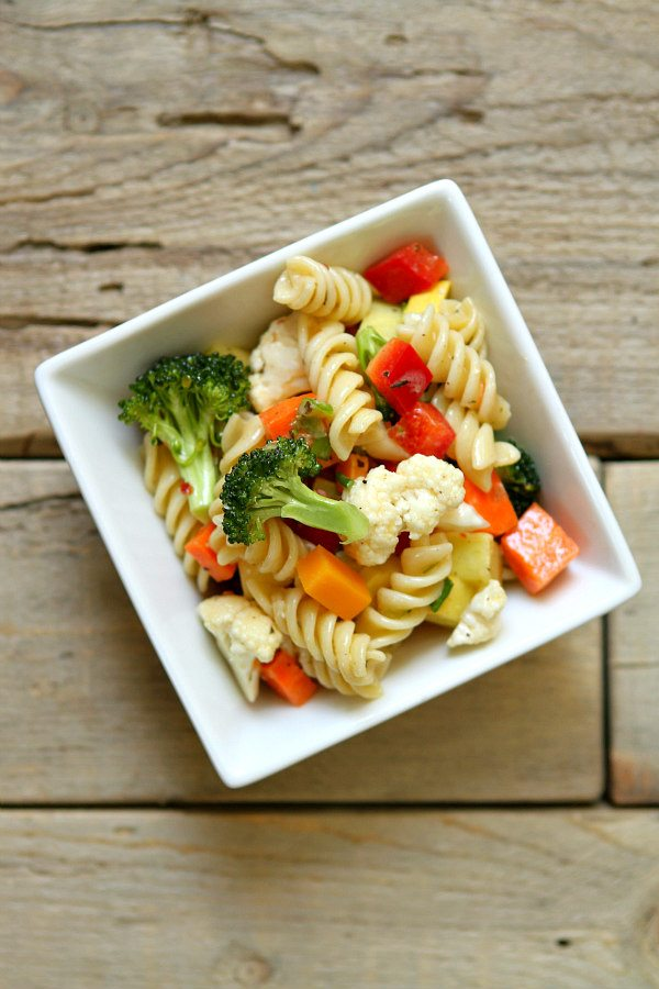 single serving of Summer Vegetable Pasta Salad