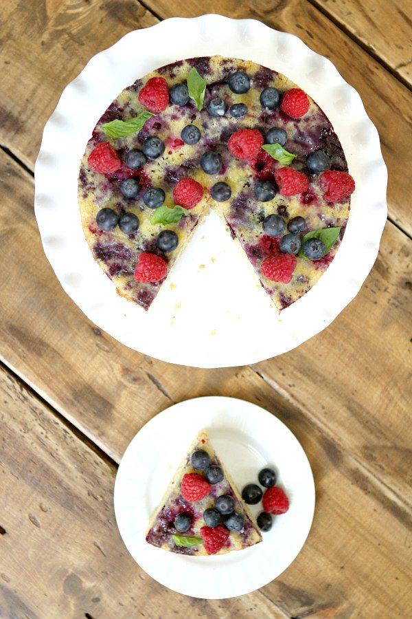 Upside Down Berry Cornmeal Coffee Cake Recipe -