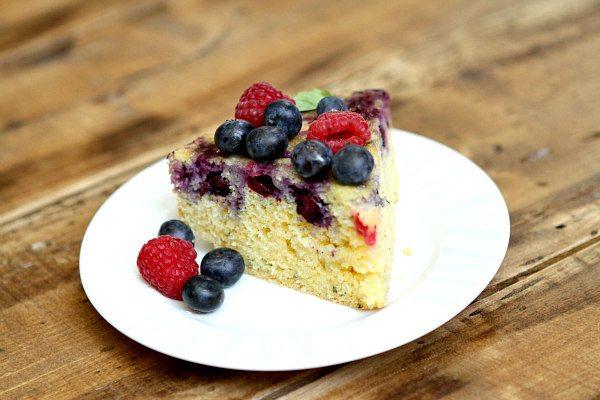 Upside Down Berry Cornmeal Coffee Cake Recipe from RecipeGirl.com