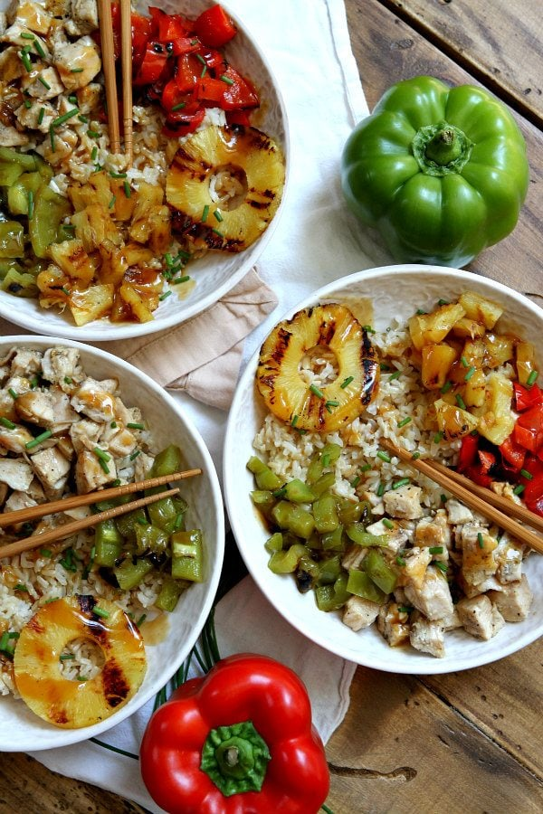 Grilled Chicken and Pineapple Rice Bowls with Teriyaki Glaze Recipe - from RecipeGirl.com