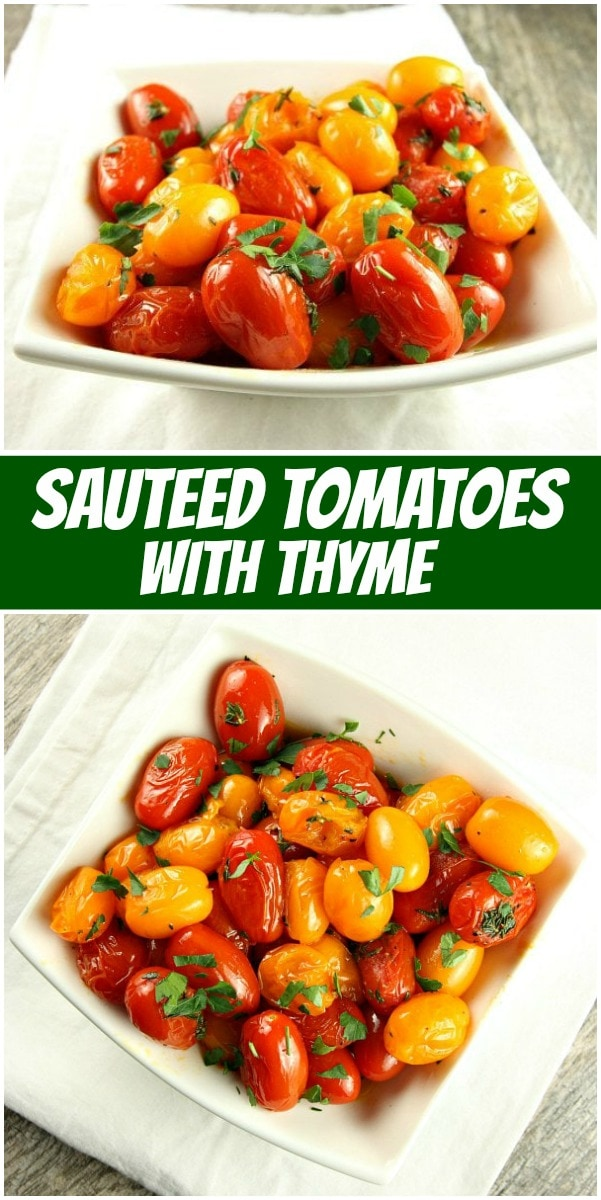 pinterest collage image for sauteed tomatoes with thyme