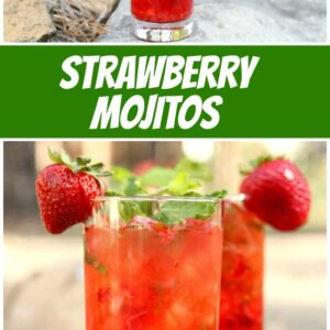 pinterest collage image for strawberry mojitos