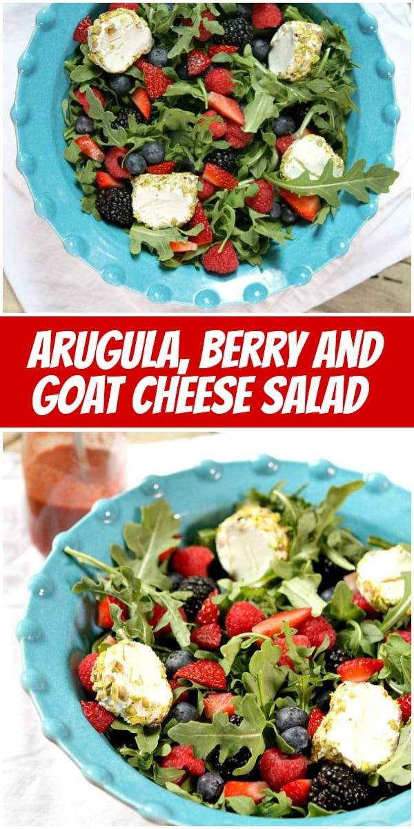 pinterest collage image for arugula berry and goat cheese salad