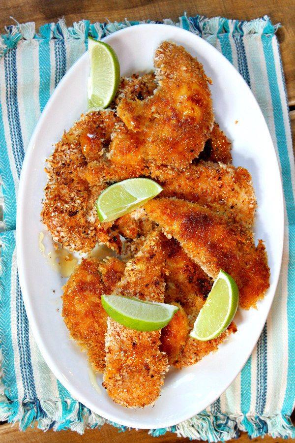 Crunchy Honey Lime Chicken Recipe - from RecipeGirl.com