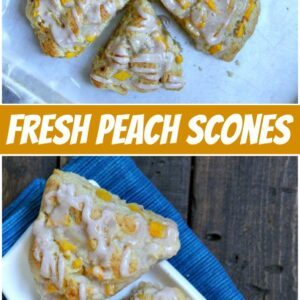 pinterest collage image for fresh peach scones