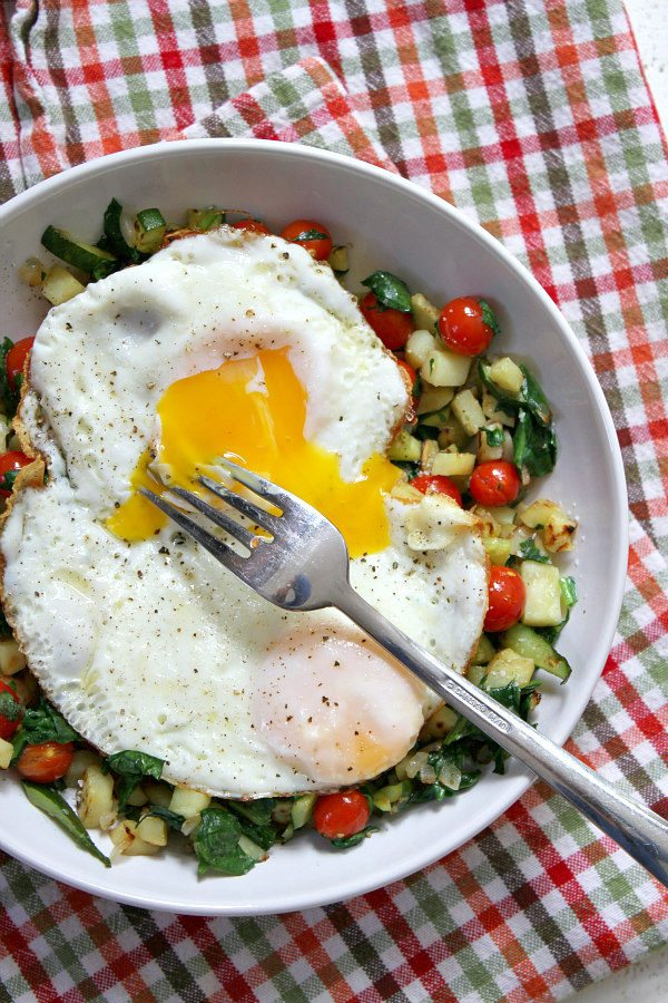 Sweet Potato Hash with Perfect Fried Eggs - from RecipeGirl.com