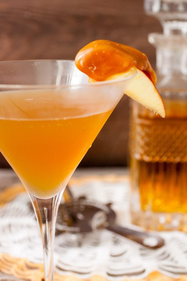 Caramel Apple Manhattan Cocktail recipe - from RecipeGirl.com