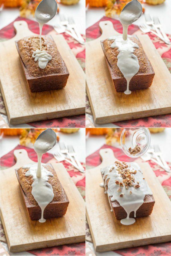 Iced Pumpkin Loaf Cake Recipe - from RecipeGirl.com