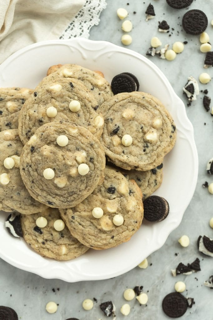 These Cookies and Cream Cookies are full of white chocolate chips and crushed Oreos for true cookie addicts! They are soft and chewy and not cakey!