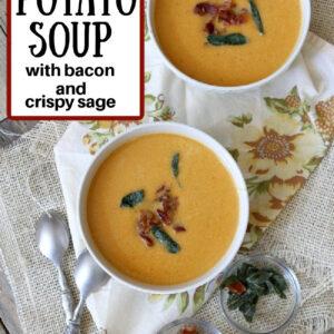pinterest image for sweet potato soup
